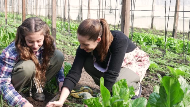 Loving mother teaching her daughter how to plant at a greenhouse both smiling