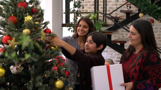 loving multi generational family decorating a christmas tree at home - decorare video stock e b–roll