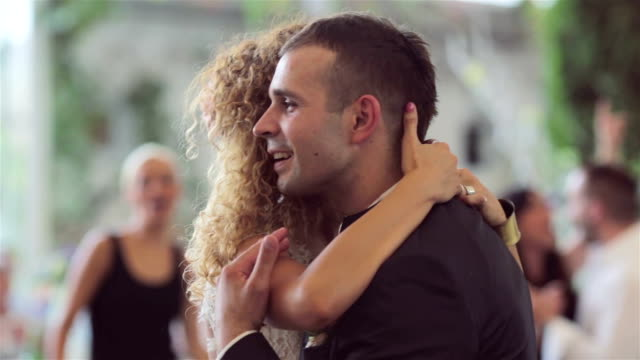 loving newlywed couple dancing the first dance at wedding - wedding fashion stock videos and b-roll footage