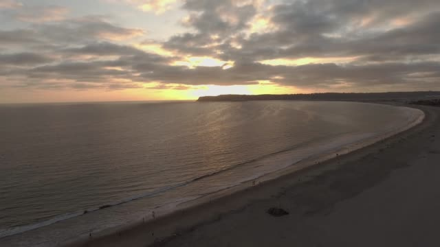 Low aerial view of ocean in San Diego, CA during sunset video