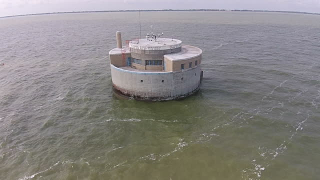 Low aerial view of Toledo water a couple miles off shore in Lake Erie video