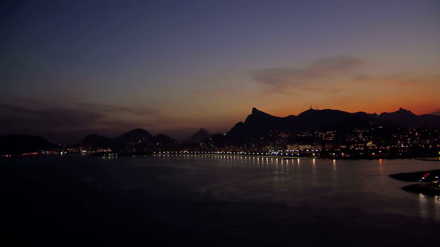 Low angle aerial view of Rio de Janeiro Bay at Dusk, Brazil video
