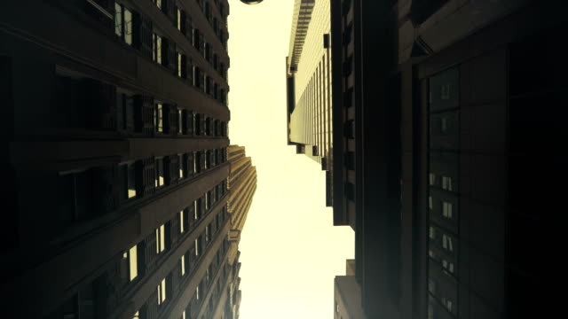 Low Angle Gliding Shot made Between Modern Buildings in the New York City Done in POV dolly style. Low Angle Gliding Shot made Between Modern Buildings in the New York City Done in POV dolly style. Shot on RED EPIC-W 8K Helium Cinema Camera. low angle view stock videos & royalty-free footage