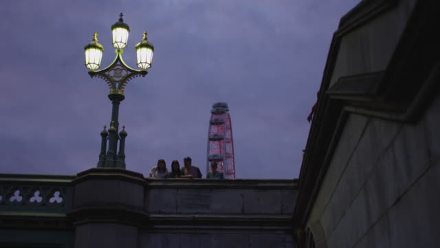 Low angle of the London Eye and a street lamp
