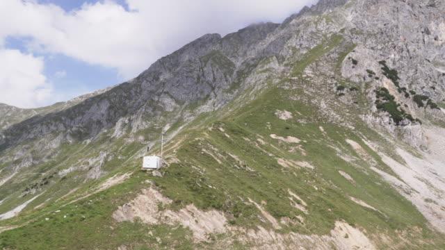 low angle panning view: alps of Austria in summer, Hafelekarspitze-Seegrube at Karwendel Mountain,Innsbruck Austria