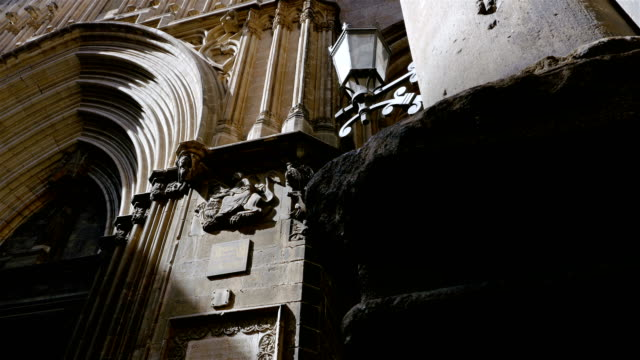 Low angle shot of a catholic cathedral in the Gothic quarter of Barcelona video