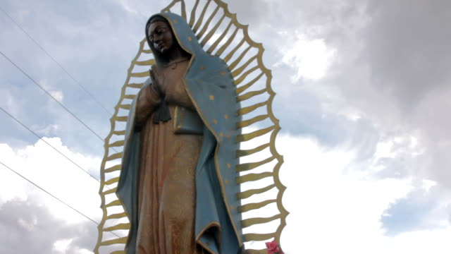 Low Angle Shot of a Statue of the Virgin of Guadalupe video