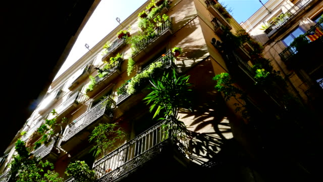 Low angle shot of buildings in the Gothic quarter of Barcelona Low angle shot of buildings in the Gothic quarter of Barcelona neo gothic architecture stock videos & royalty-free footage