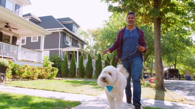 Low Angle Shot Of Man Walking Dog Along Suburban Street