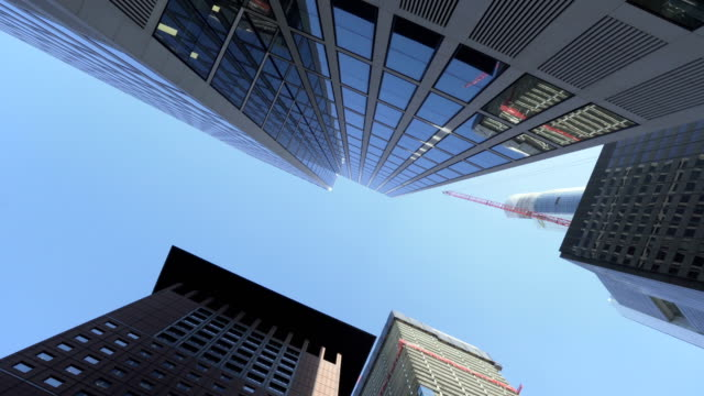 low angle view: building exterior in frankfurt in morning of autumn, germany - francoforte sul meno video stock e b–roll
