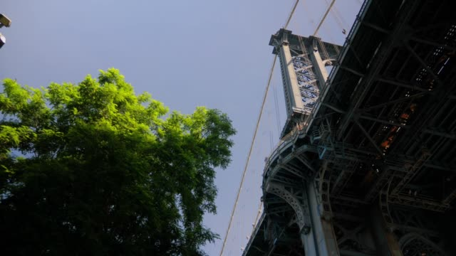 Low Angle View Looking Up at Manhattan Bridge Deck