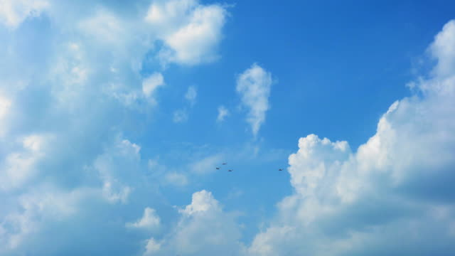 Low angle view of fighter airplanes performing airshow in sky video