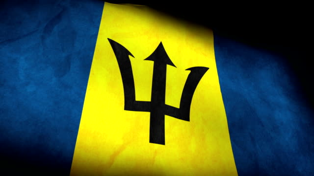 Low Angle view of National flag of Barbados background video
