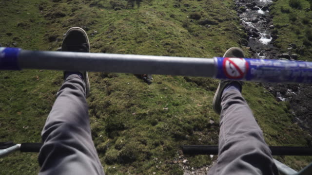 low angle view on feet of travler while sitting on Cable Car on Kühtai in summer, Tyrol, Austria