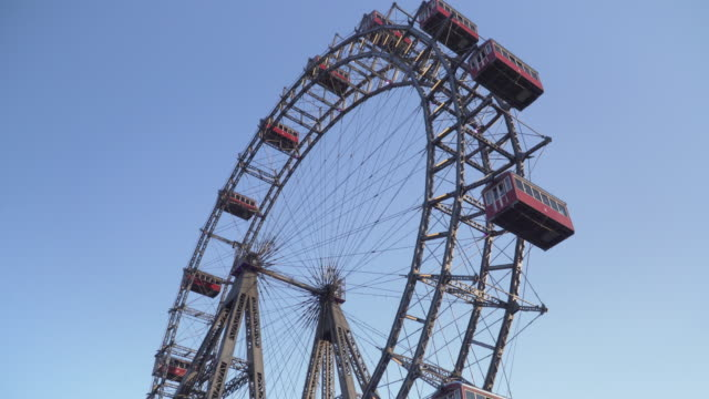 low angle view: Viennese giant wheel in Prater Park  of Vienna at twilight, Austria