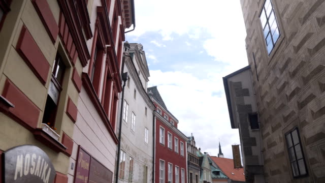 low angle view while walking along the street in Cesky Krumlov town