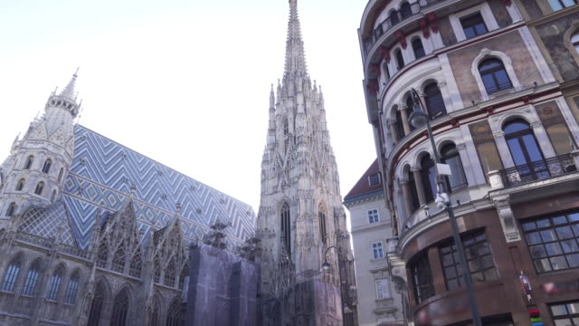 low angle view while walking in plzza at Vienna, Austria, Europe: St. Stephen's Cathedral or Stephansdom, Stephansplatz in weekend