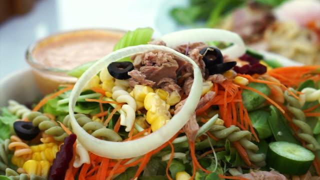 Low carb tuna salad. Colorful healthy fresh food from organic farm video