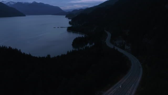 Low Light Aerial of Water and Mountains at Sea to Sky Highway in British Columbia Canada video