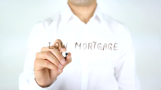 Low Mortgage Rates, Man Writing on Glass video