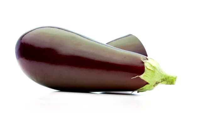 low perspective of sliced aubergine video
