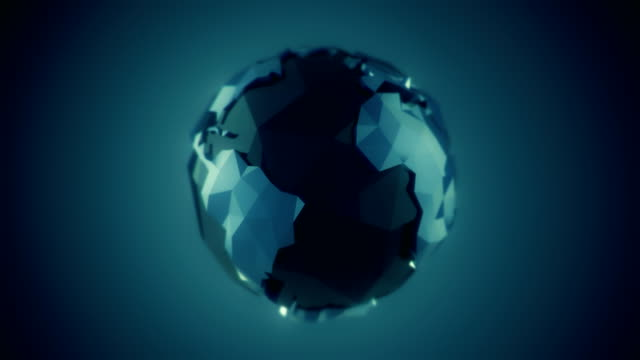 low poly earth rotation loop - glass world video stock e b–roll