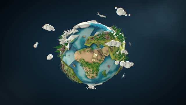 Low Poly Earth - Seamlessly Looped Rotation video