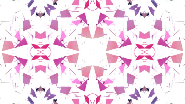 low poly geometric abstract background as a moving stained glass or kaleidoscope effect in 4k. Loop 3d animation, seamless footage in popular low poly style. V16 video