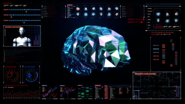 Low polygon Brain, connect digital lines in digital display video