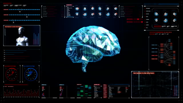 Low polygon Brain, digital lines in digital display interface, grow future artificial intelligence. – Video