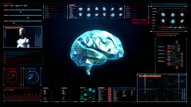Low polygon Brain, digital lines in digital display interface, grow future artificial intelligence. video