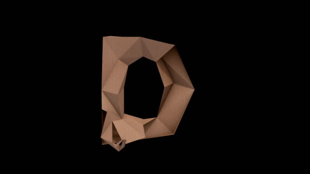 low polygon cardboard text with alpha D 3d animated low polygon cardboard text with alpha channel the character D alphabet stock videos & royalty-free footage