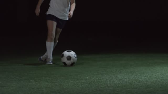 Low Section of Young Soccer Player Training on Field video