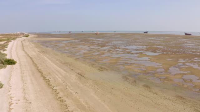 AERIAL Low tide on the coast of Masirah Island