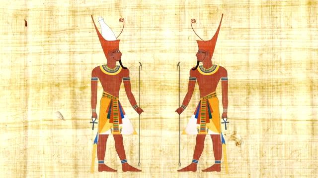 下エジプトのファラオとパピルスの背景にすべてのエジプトのファラオ - 過ぎ越しの祭り点の映像素材/bロール