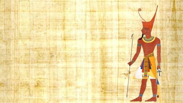 Faraón del bajo Egipto sobre un fondo papiro - vídeo