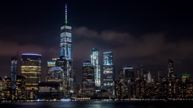 Lower Manhattan and Freedom Tower at Night Timelapse video