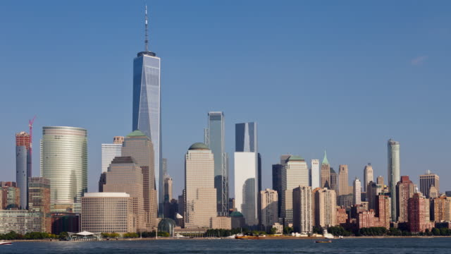 Lower Manhattan and Freedom Tower Skyline Medium Day Timelapse video