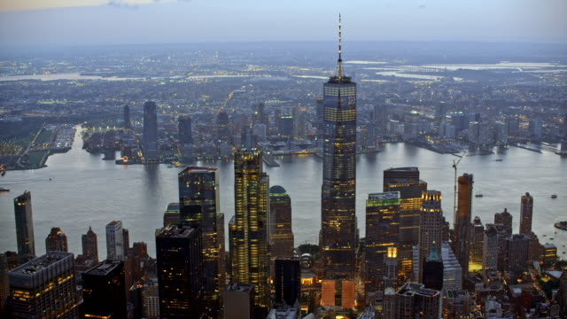 AERIAL Lower Manhattan and Newport at dusk