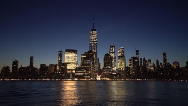 ms lower manhattan all'alba / new york city, usa - inquadratura fissa video stock e b–roll