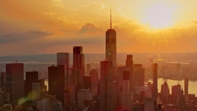 AERIAL Lower Manhattan at sunset