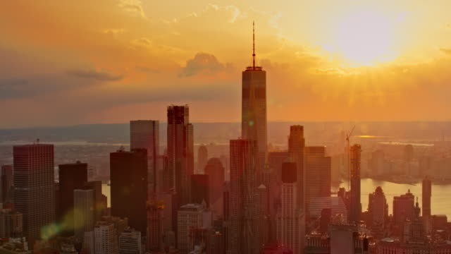 aerial lower manhattan at sunset - new york architecture stock videos & royalty-free footage
