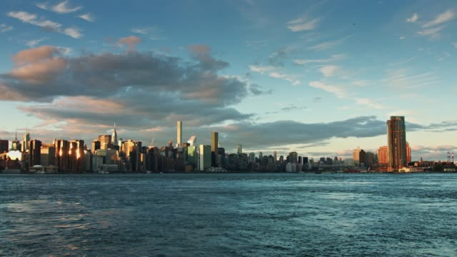 Lower Manhattan Cityscape at Sunset video