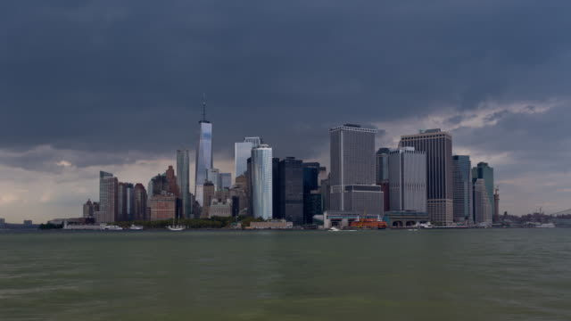 Lower Manhattan Skyline and Dark Clouds Day Timelapse video