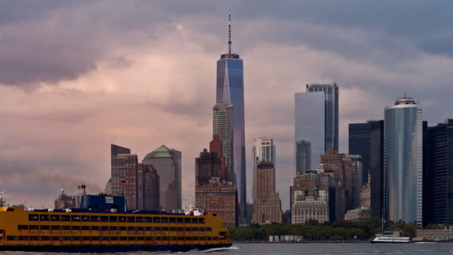 Lower Manhattan Skyline and Freedom Tower Golden Hour Sunset Timelapse video