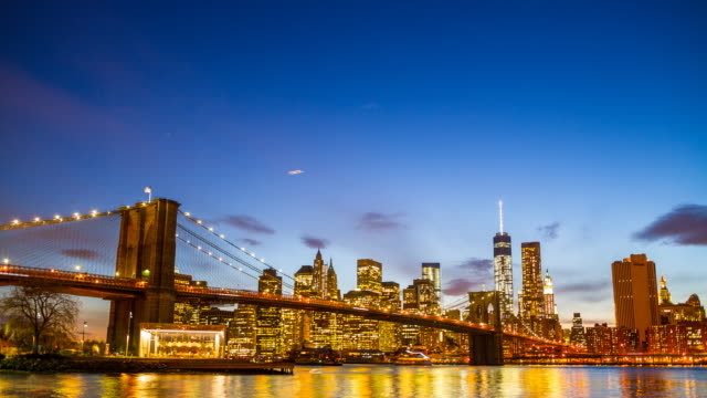 Lower Manhattan skyline at night video