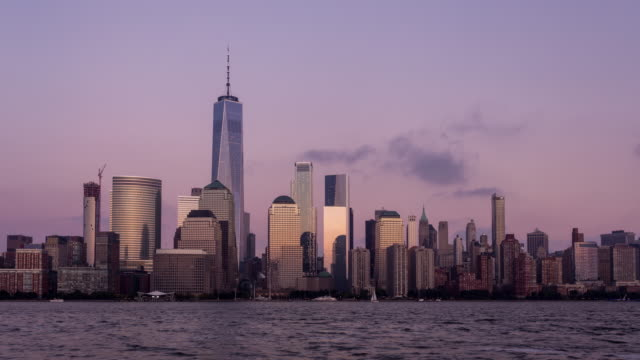 Lower Manhattan Skyline Day to Night Sunset Timelapse video