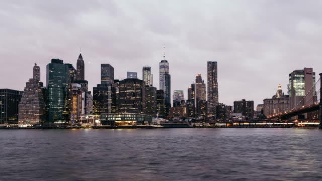 T/L ZO Lower Manhattan skyline, from Dusk to Night / New York video