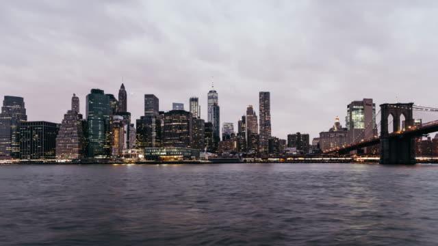 T/L Lower Manhattan skyline, from Dusk to Night / New York video