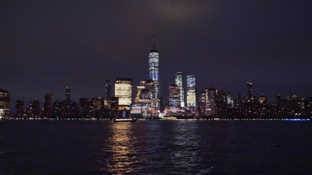 lower manhattan skyline, new york skyline at night - new york city skyline stock videos & royalty-free footage